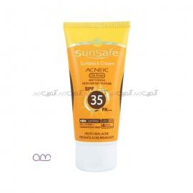 کرم ضد آفتاب رنگی فاقد چربی سان سیف sunsafe مدل SPF35