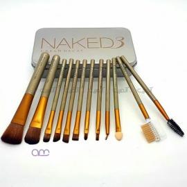 ست براش آرایشی اربن دیکی urban decay مدل Naked نقره ای 12 عددی